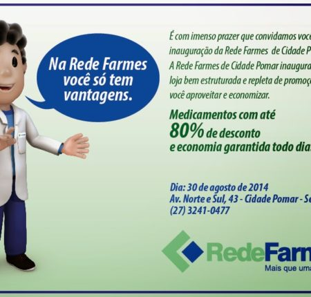 Folheto de inauguração da Rede Farmes de Cidade Pomar